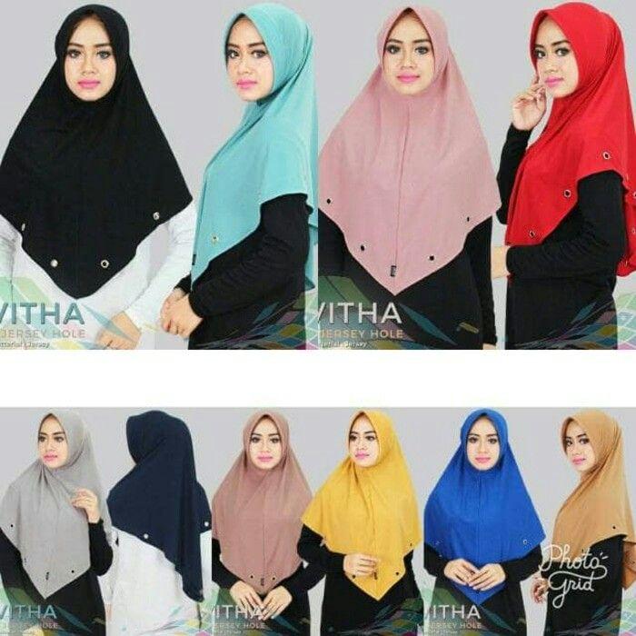 Jilbab Instan Khimar Vitha Jersey Khimar Dengan Pad Antem Dipercantik Dengan Hiasan Cincin Pada Ujung Khimar Berbahan Jersey Zoya A Gaya Hijab Kerudung Gaya
