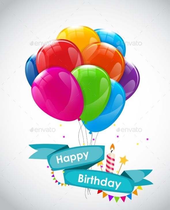 Happy Birthday Card Template With Balloons Happy Birthday Template Birthday Card Template Happy Birthday Cards