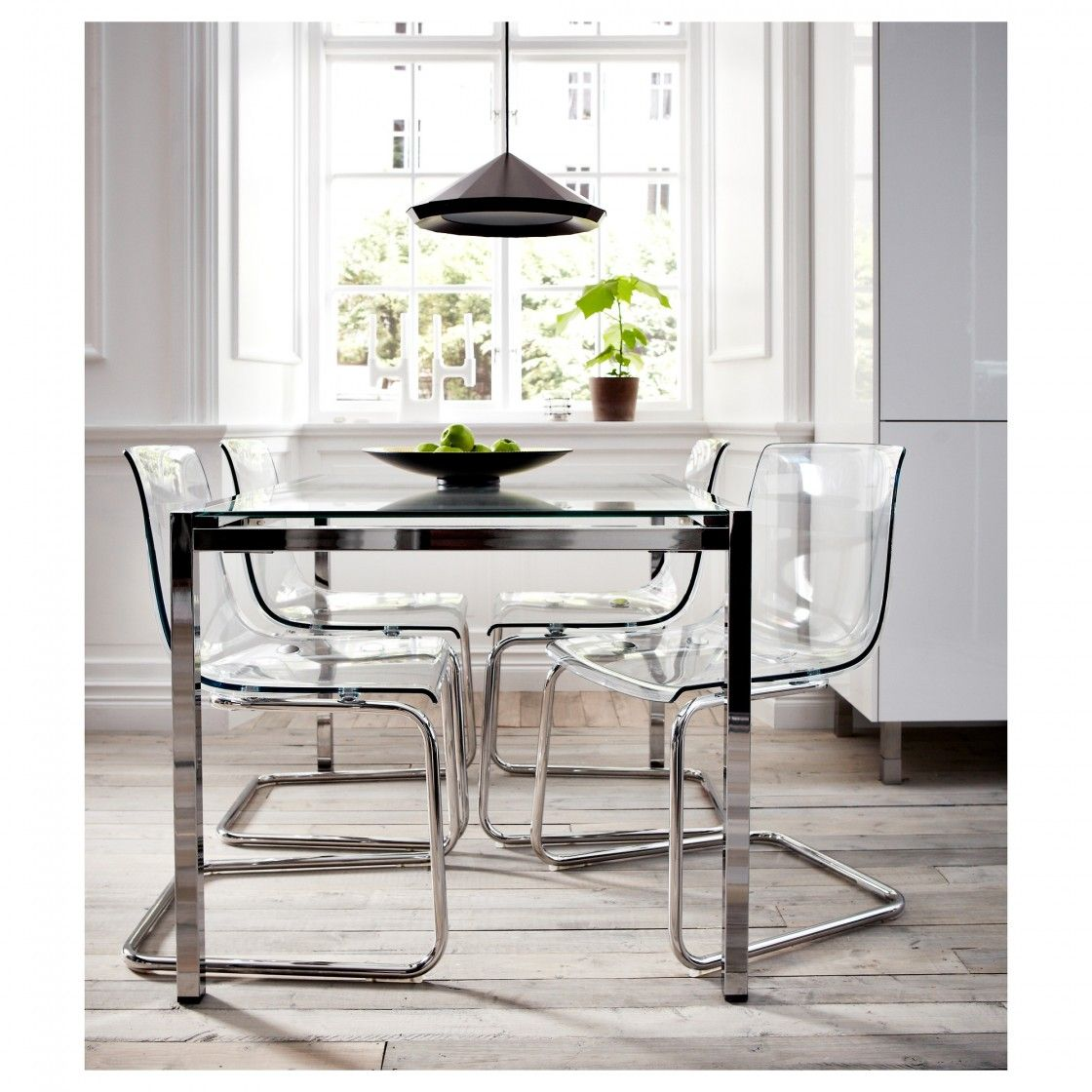 Ikea glass kitchen table - Beautiful Rectangle Glass Dining Table With Chrome Polished Metal Frame And Four Translucent Acrylic Dining Chairs