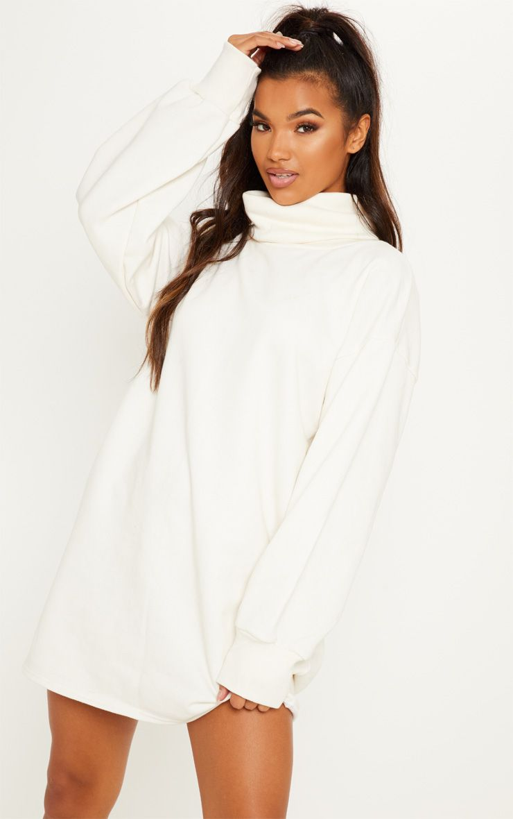 Cream Oversized Sweat Roll Neck Sweatshirt Dress Roll Neck Jumper Dress Roll Neck Jumpers Jumper Dress [ 1180 x 740 Pixel ]