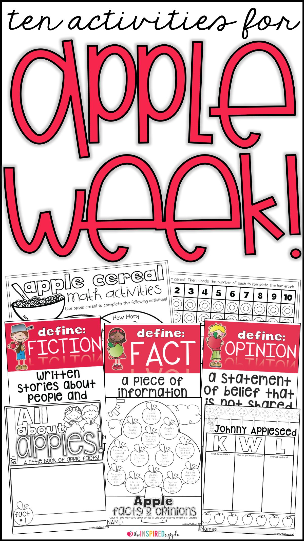 Apple Week Activities Resource Round Up For Kindergarten And First Grade