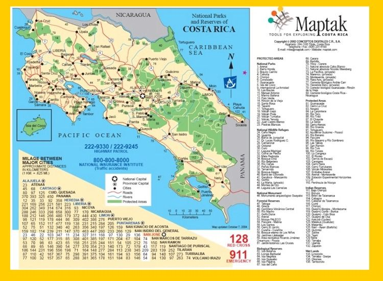 Printable Road Map Of Costa Rica Costa Rica Road Map Vacation - Costa rica detailed map