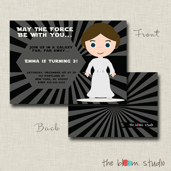 Princess Leia Birthday Party Invitation 1500 Via Etsy