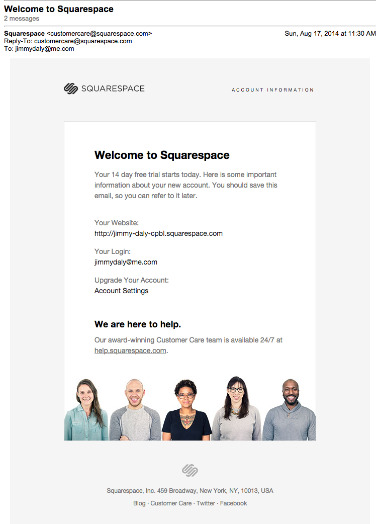 Squarespace Welcome Email People Clean Design Simple Copy UI - Welcome email template for new customer