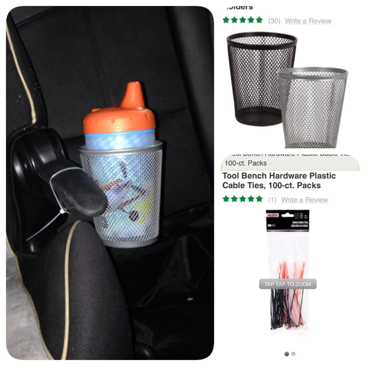 DIY Cupholder For Toddler Car Seat Dollar Tree Mesh Zip Tied To Armrest Of The