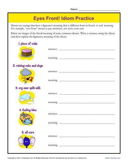 Eyes front idiom practice worksheets english idioms and sentences eyes front idiom practice fandeluxe Choice Image