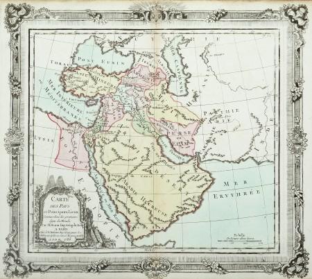 Carte Des Pays Et Principaux Lieux Antique Print Map Room Middle East Map Frame Border Design Border Design