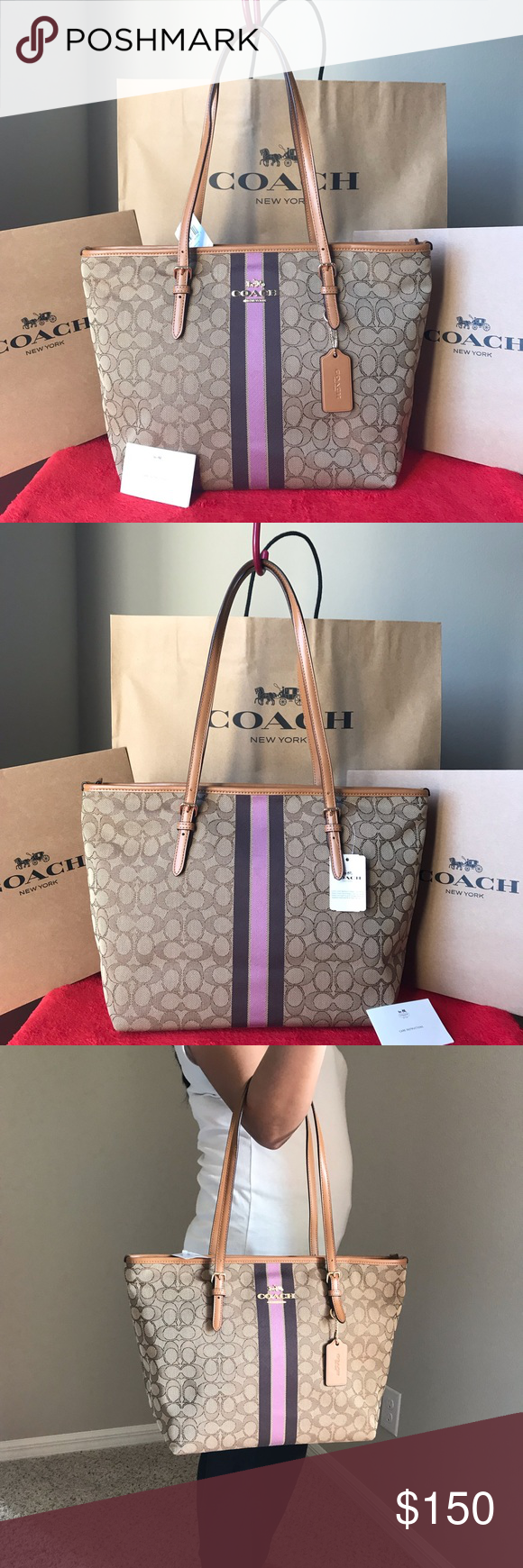 725c3b817196 ✅✅NWT Coach Purse✅✅ Coach F39043 Zip Top Tote In Signature Jacquard With  Stripe Khaki Multi   Brand new with tags   Approximate Measurements  16