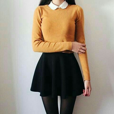 a09e519a95 Yellow top with white Peter Pan collar and black skirt with tights outfit