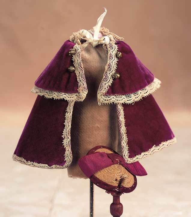 Magenta Velvet Miniature Cape and Straw Bonnet, c 1885