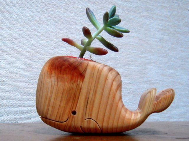 Wooden Whale Spout #whale #plant #decor