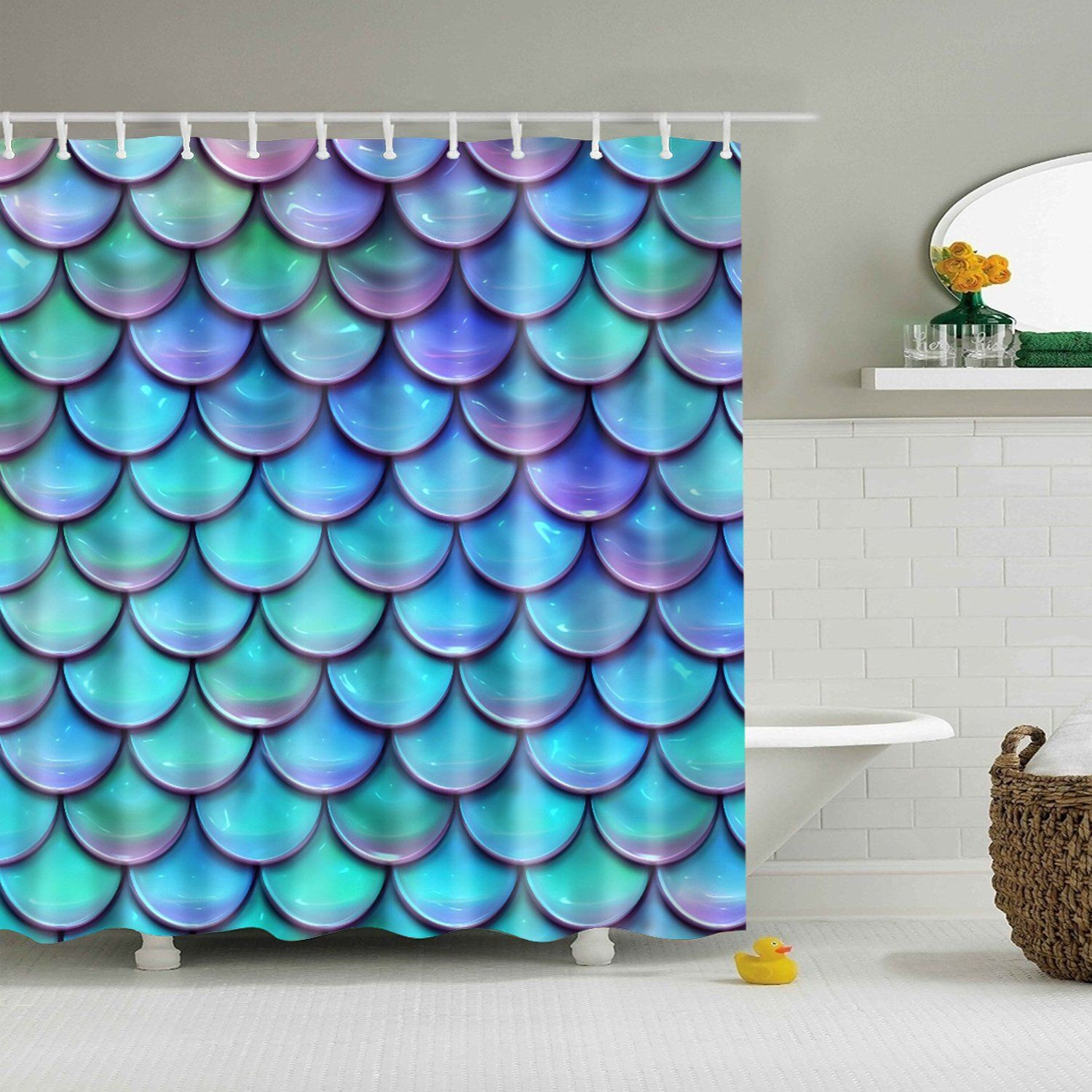 Holographic Mermaid Scales Shower Curtain Bathroom Decor In 2020