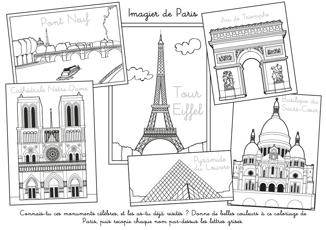 Coloriage A Imprimer Imagier De Paris Coloriage Paris Paris