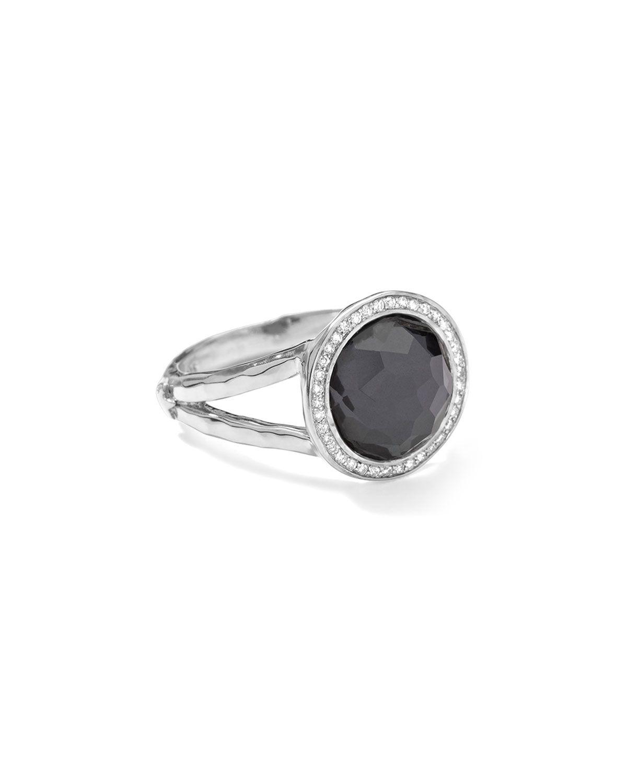 Stella Mini Lollipop Ring in Hematite Doublet with Diamonds, 0.15, Size: 8, SILVER - Ippolita