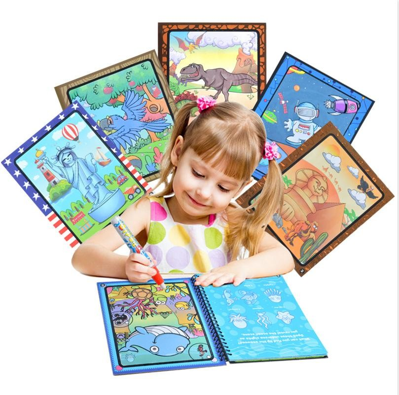 No Mess Painting For Kids Highlights This Exciting Paint With Water Coloring Book Includes Six Reusable Pages And A Drawing Toys Coloring Books Water Drawing