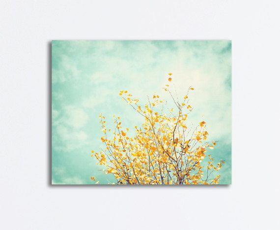 Nature Canvas Art - mint green yellow turquoise light blue tree ...