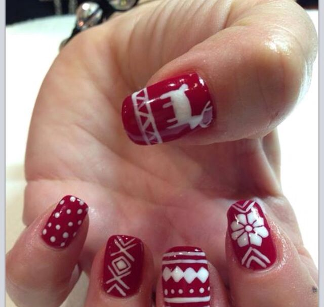 Hand Painted Christmas Nail Art: Ugly Sweater Hand Painted Shellac Gel Nail Art By Andrea