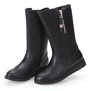 Botas ( Negro ) - Botas hasta media pierna - Dedo redondo/Cargadores de la manera - Plataforma - Cuero sintético - para MUJERES – USD $ 27.99