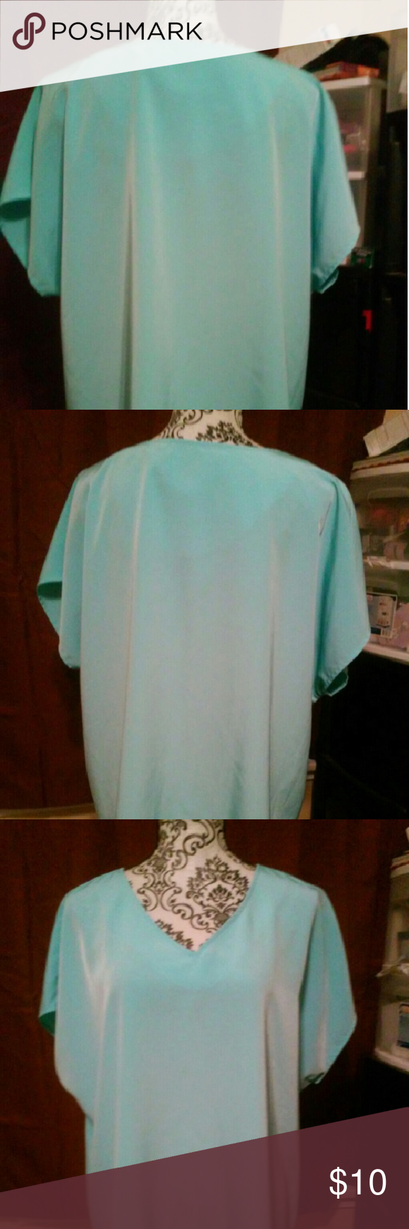 Maggie sweet 1x aqua blouse Like new aqua 1x faux suede looking excellent by maggie swet maggie sweets  Tops Blouses