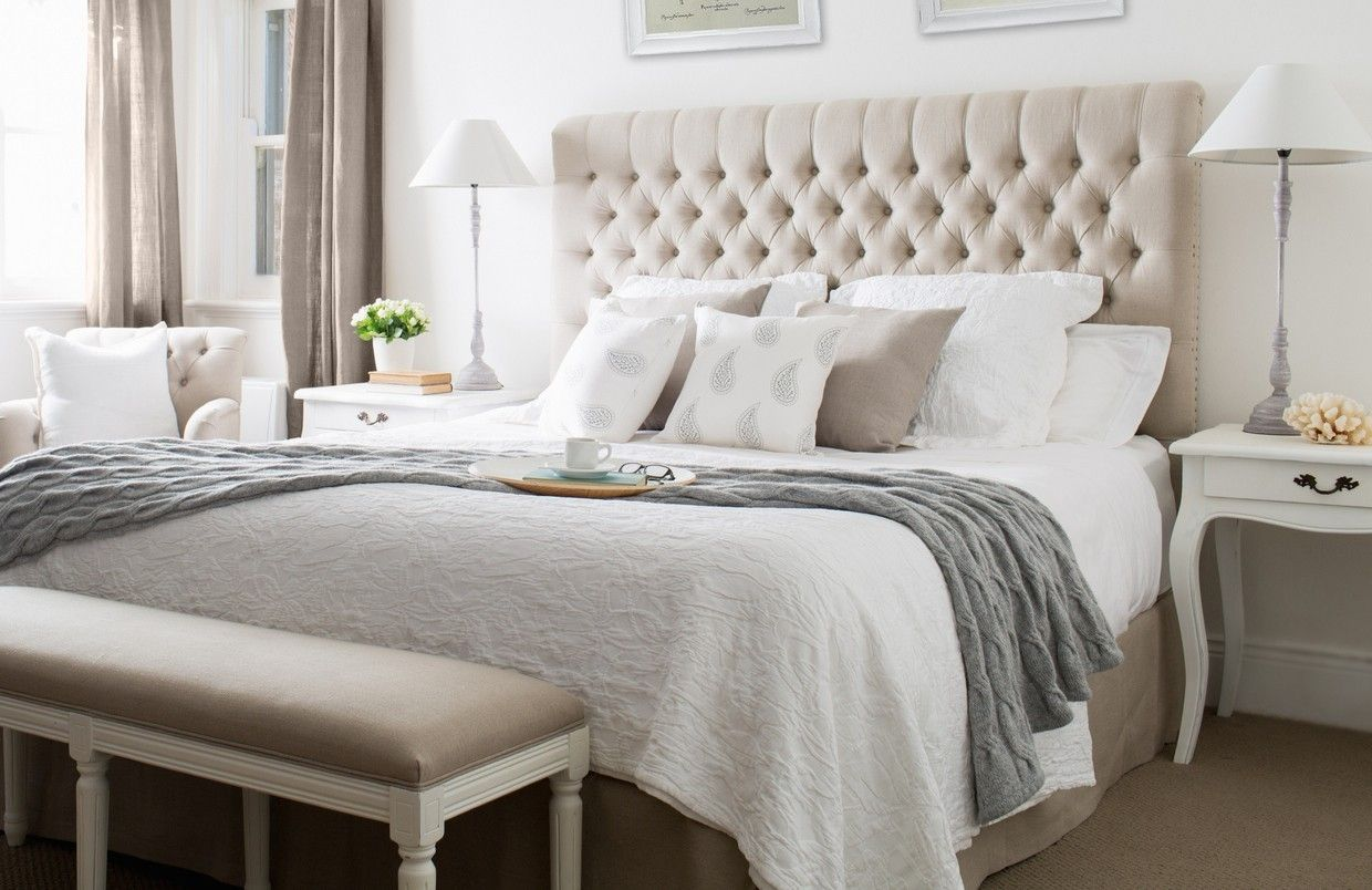 Charcoal linen buttoned bedhead queen king for Dormitorio king