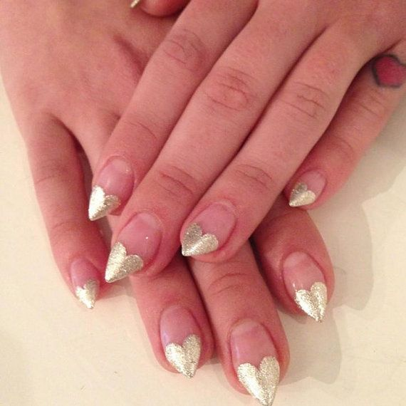 Heart Tip Stiletto Nails Available In Many By Crystalnailboutique