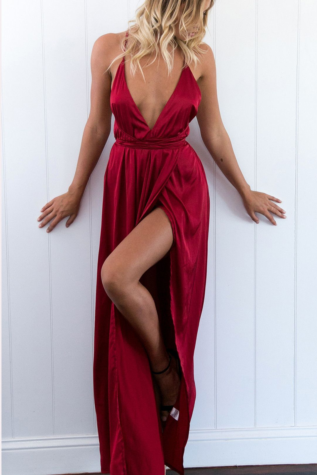 Formal open back prom dressesred v neck prom gownssexy slit prom