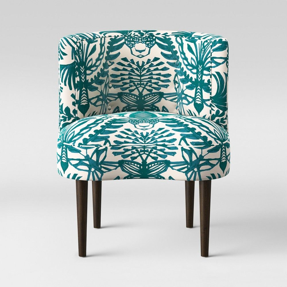 Best Clary Curved Back Accent Chair Teal Cream Animal Print 400 x 300