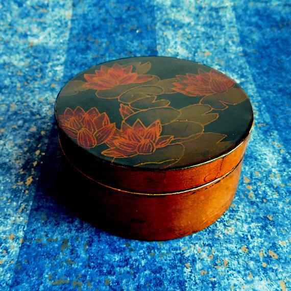 Asian Wooden Circular Trinket Box