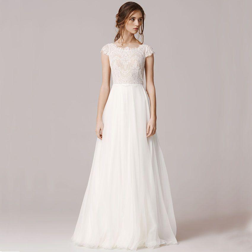 Modest Sheath Sweetheart Long Sleeve Lace Wedding Dress With