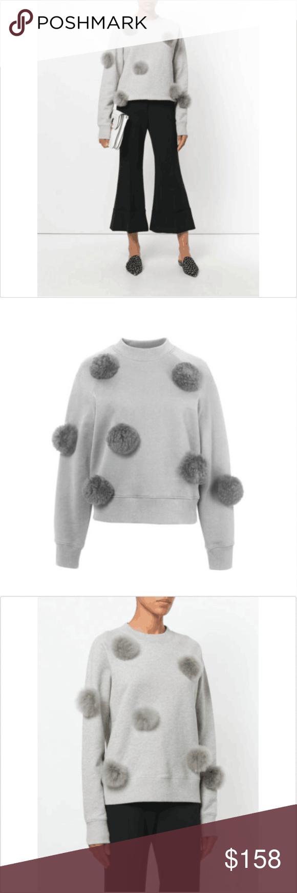 Tibi Pom Pomalpaca Fur Sweatshirt Heather Gray Heather Grey And