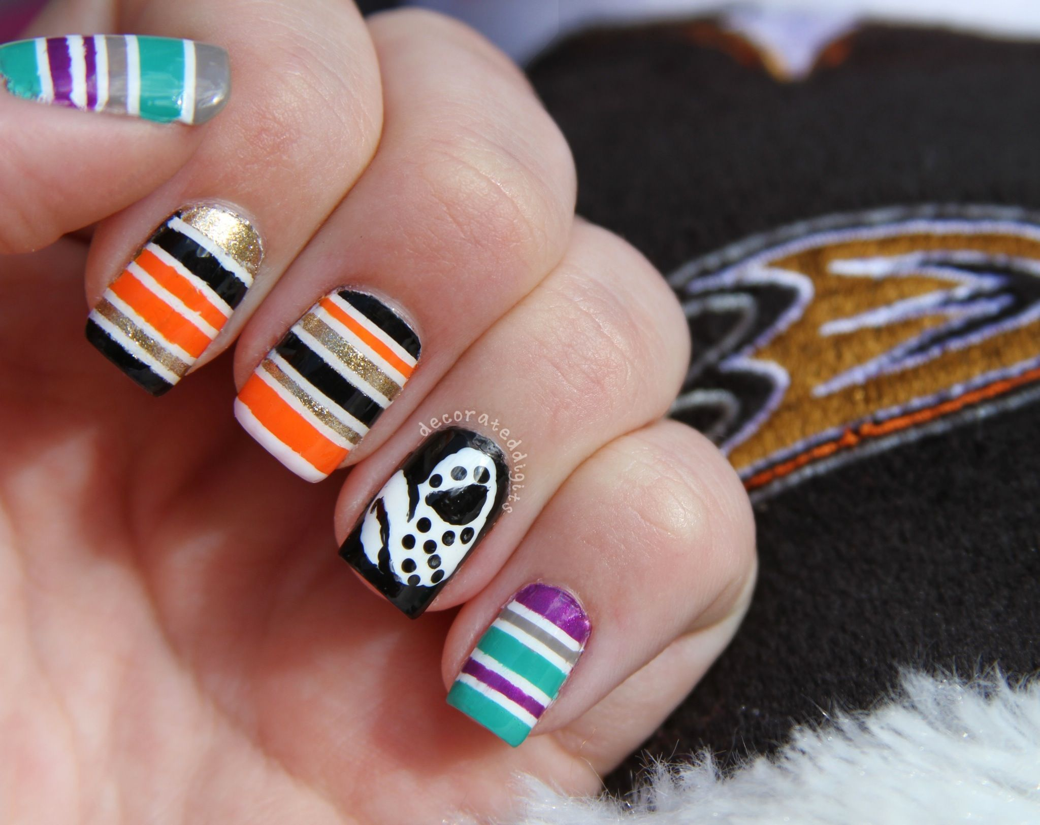 NHL Mighty Ducks/Anaheim Ducks hockey nails by decorateddigits ...