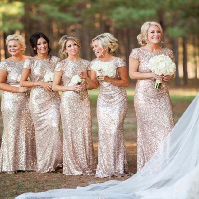 Gold Sequin Bridesmaid Dresses 2015