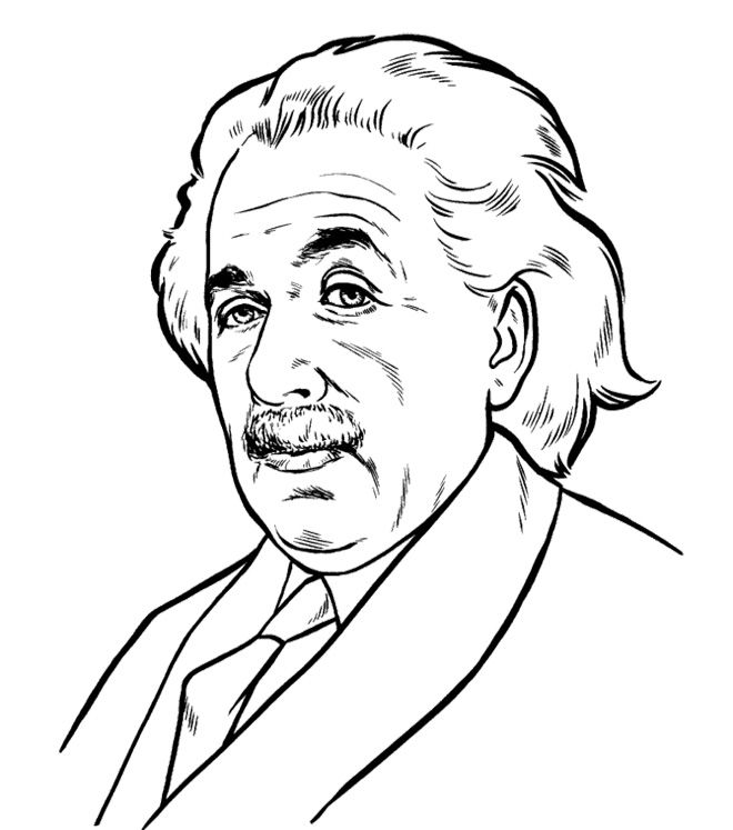 Great Face Albert Einstein Coloring Pages