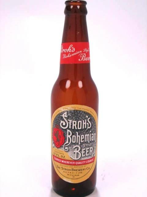 Bottles: Paper Label Stroh's Bohemian Style Beer The Stroh Brewery Co. (Post-Prohibition) Detroit MI USA