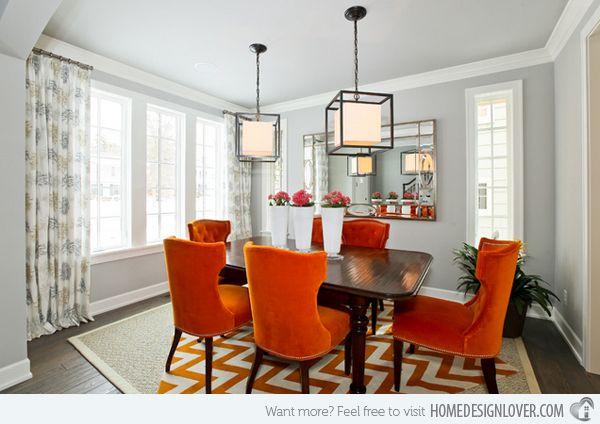 15 Catchy Orange Dining Room Designs  Orange Dining Room Dining Prepossessing Grey And Red Dining Room Design Ideas