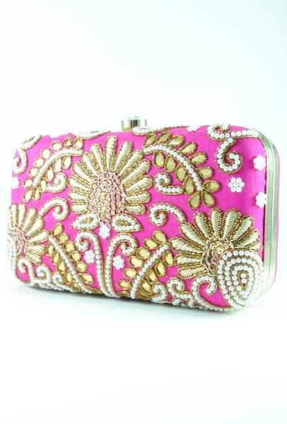 Fabulous Bridal Clutch Bag In A Beautifully Gotta Patti Design And Pearl Embroidery Perfect For Any Occasion Gold Coloured Metal Frame Surrounds The