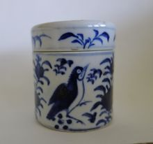 Blue & White Chinese Apothecary Jar - Bird, Butterfly, Flora
