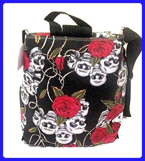 gothic emo black red rose skull flower hip rock shoulder bag satchel backpack - Top handle bags (*Amazon Partner-Link)
