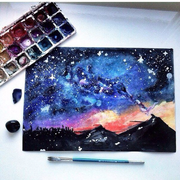 Space Tumblr Watercolor Art Drawings