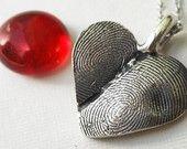 Custom Double Fingerprint Heart Necklace Sterling Silver : Etsy by rockmyworldinc