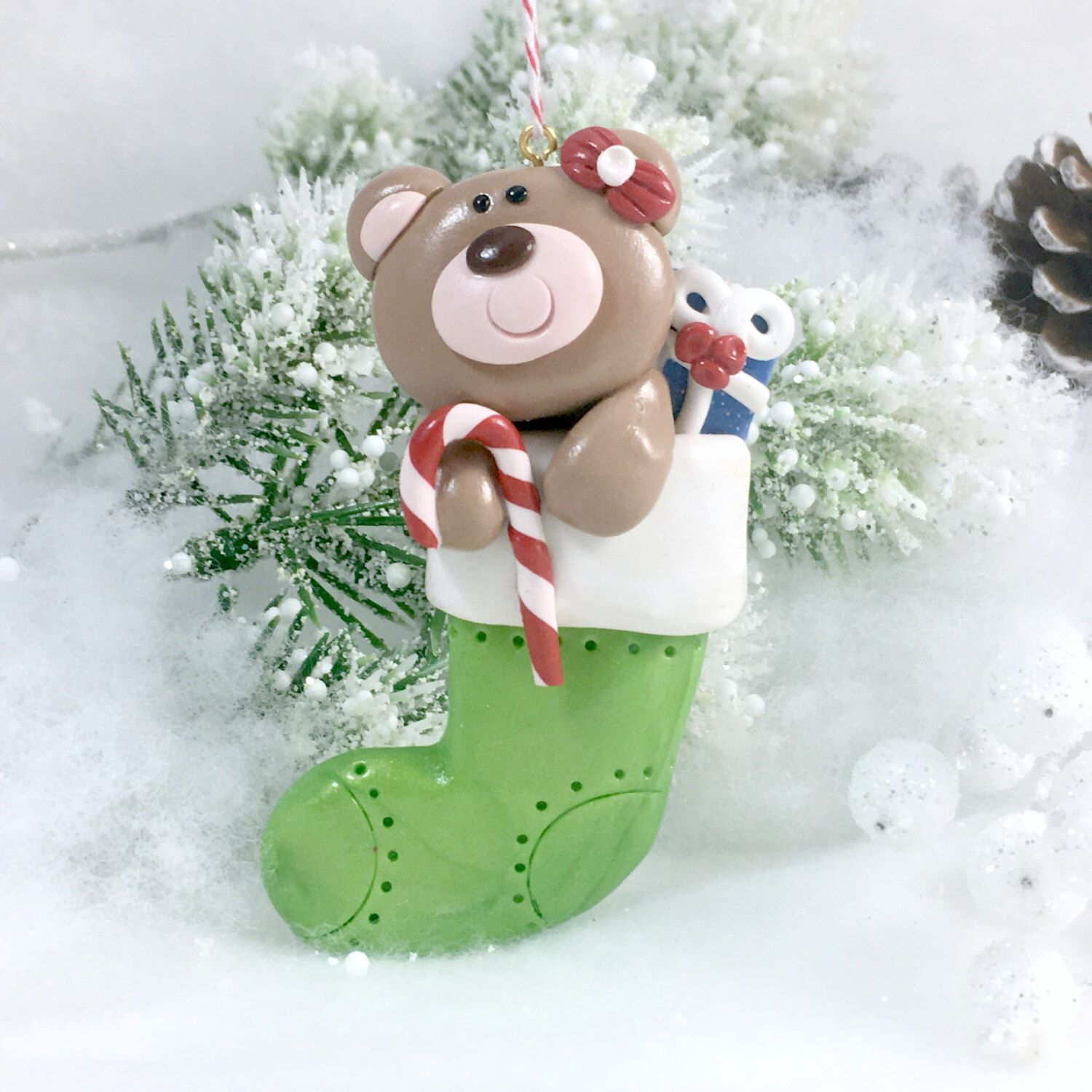 Handmade Teddy Bear Stocking Ornament Stocking Ornament Baby S First Christmas Ornament Poly Stocking Ornament Polymer Clay Christmas Polymer Clay Ornaments