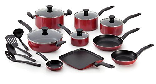 T Fal B165si Initiatives Nonstick Piece Cookware Set Red Home