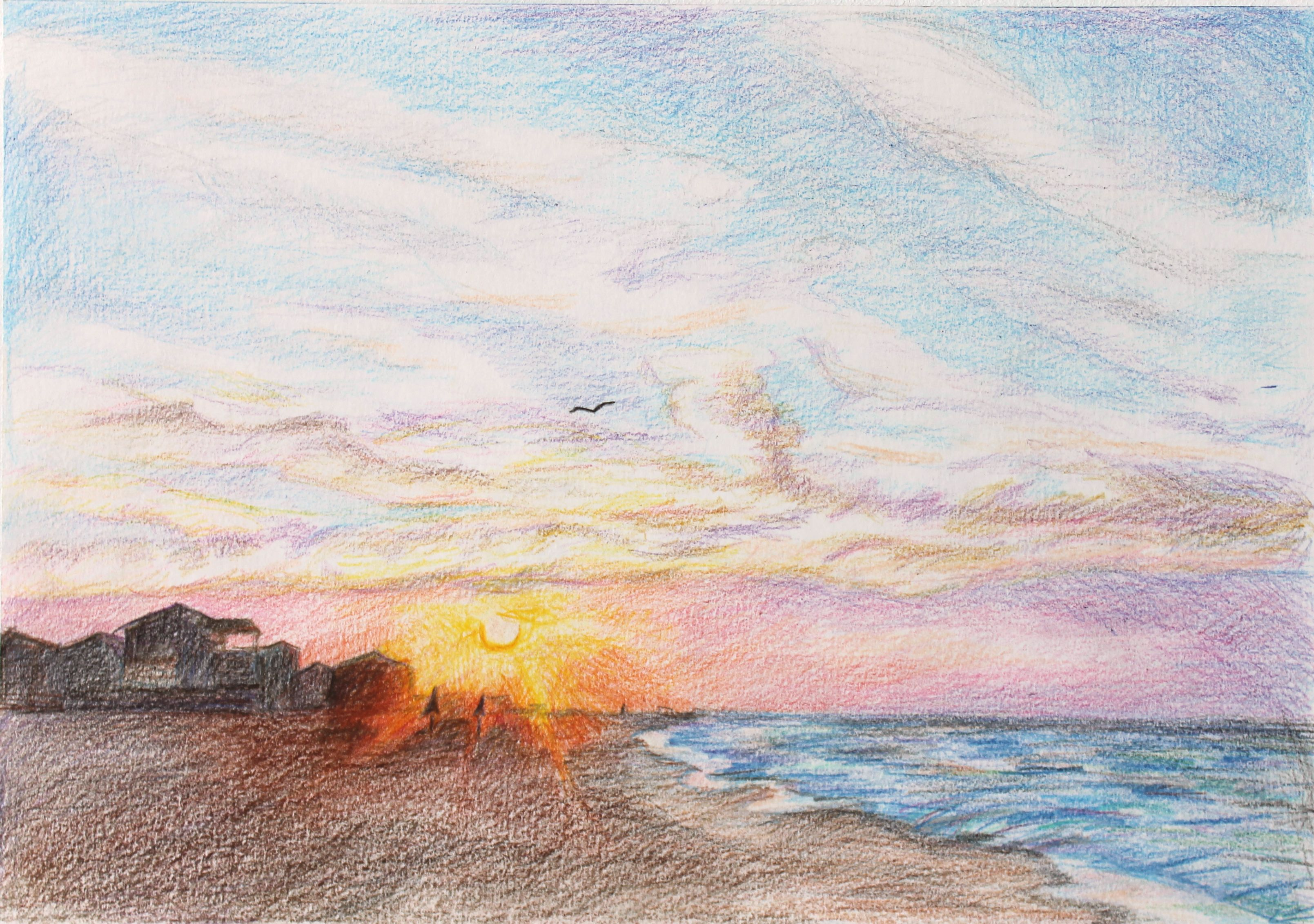 Gulf Shores Al 2015 By Oksana Berko Colored Pencils Drawing