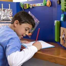 Kids' Homework Station:  tri-fold board to eliminate distractions