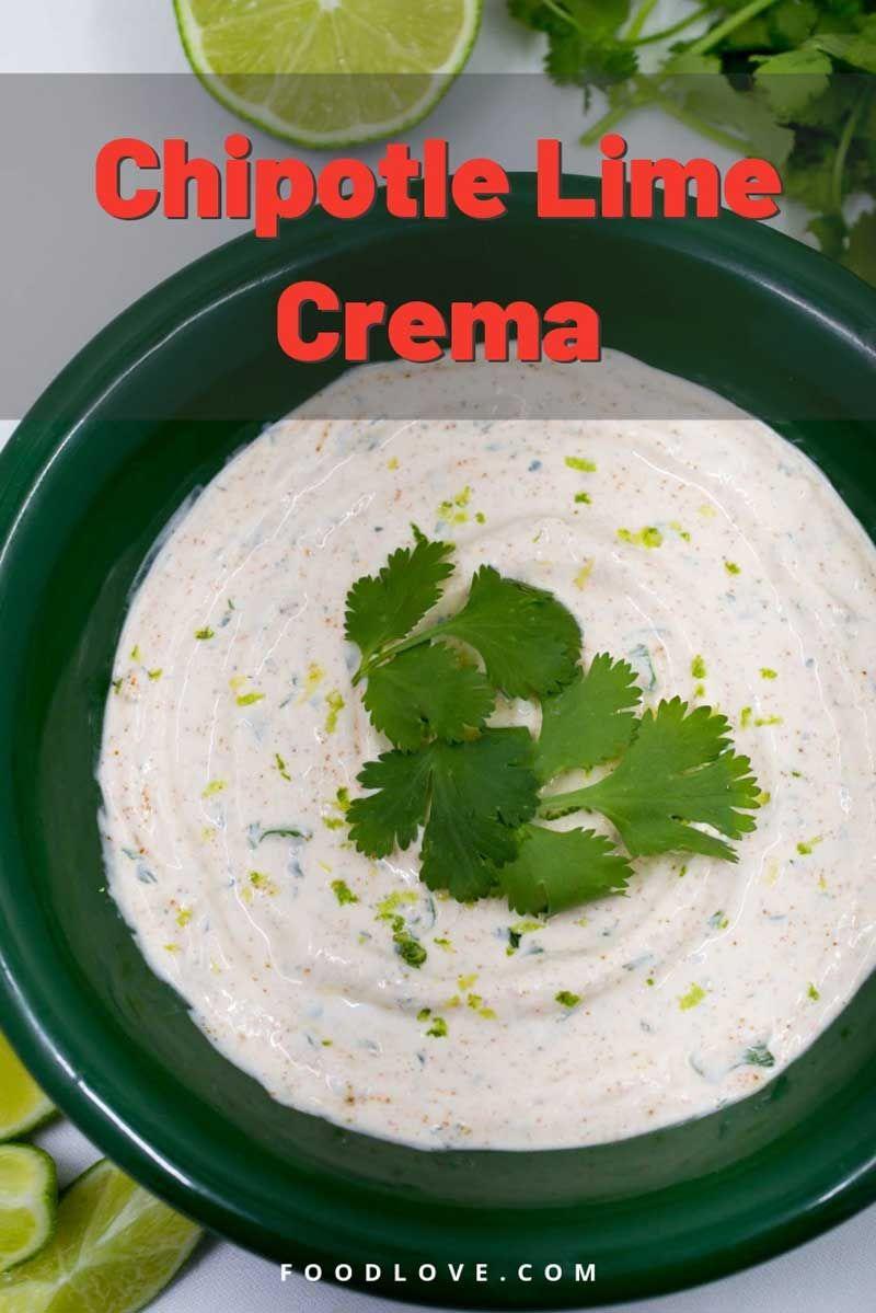 Chipotle Lime Crema Recipe In 2020 Lime Crema Recipe Sour Cream Dip Spicy Crema