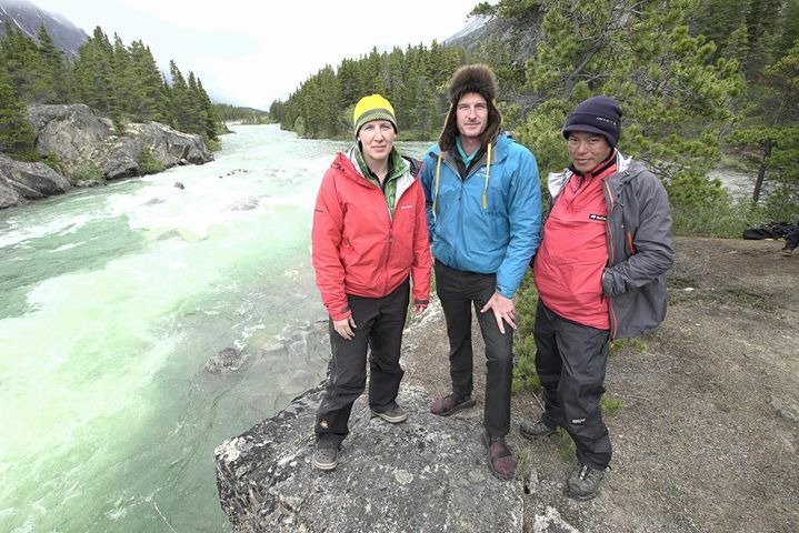 Felicity Aston Dan Snow and Kevin Fong next to One Mile Rapids Canada on route to the Klondike. The team are about to take on the rapids.  To find out more about the programme visit: http://ift.tt/2foBnu4  Photographer: Ryan Atkinson   BBC STUDIOS 2016
