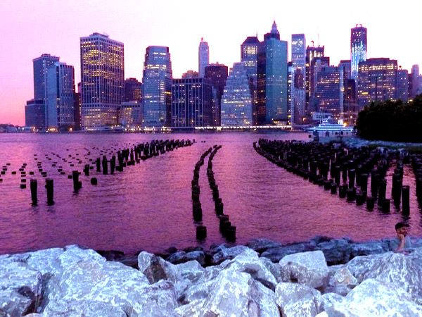 pink sunset in Brooklyn Bridge Park #NYC