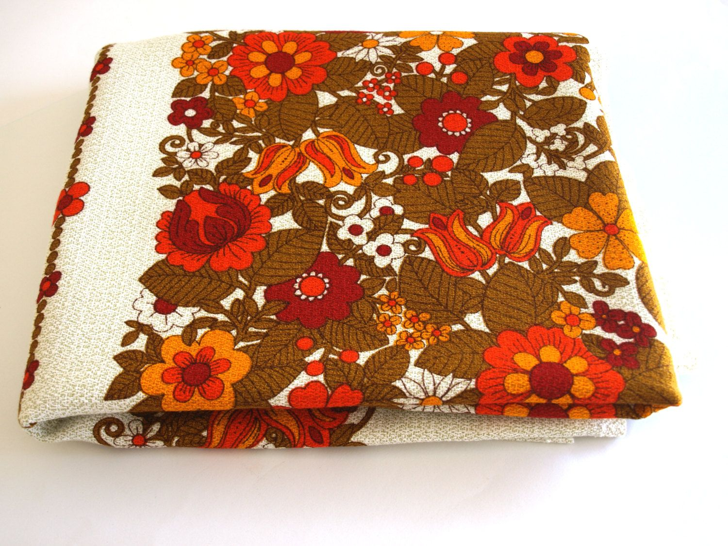 Retro 70s Flower Power Tablecloth   Vintage Orange, Yellow, Red Daisy Poppy  Or Floral