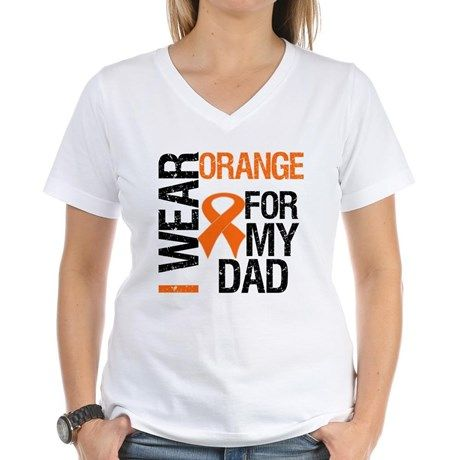 I Wear Orange For My Dad Women's V-Neck T-Shirt