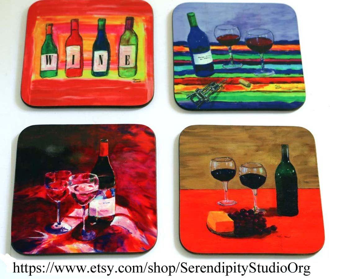 Wine Coasters Kitchen Gifts Wine Bottle Art Hardboard In 2020 Wine Coasters Wine Art Wine Bottle Art
